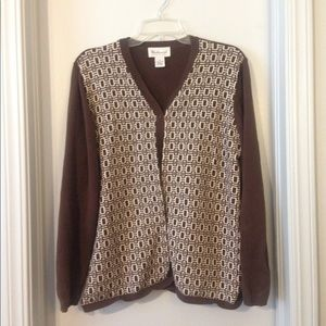 Westbound XL Sweater - brown and white